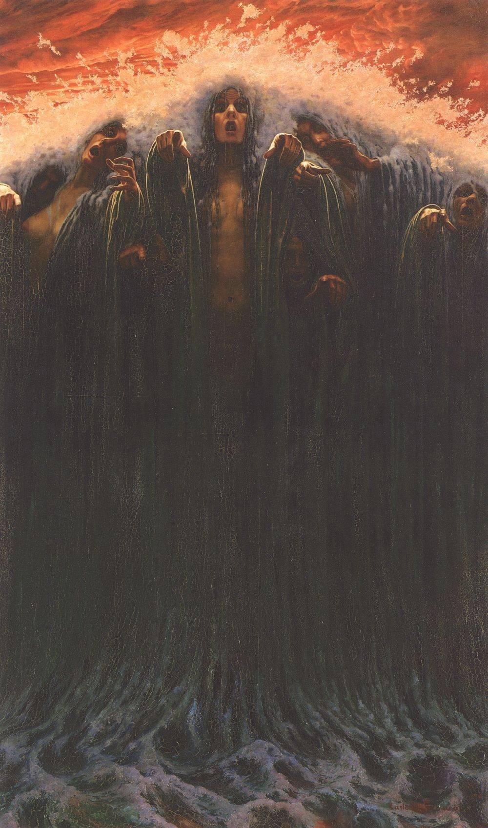 Carlos Schwabe, La Vague, 1907. Oil on canvas, 196 x 116 cm, Musée d'art et d'histoire, Geneve - [Public domain], via Wikimedia Commons